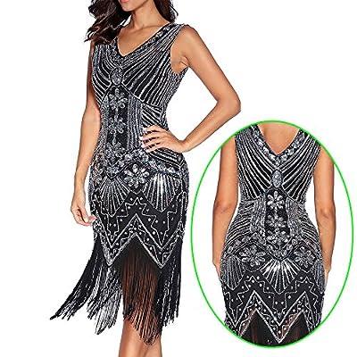 1920s Dress Women Great Gatsby Sequin Dress Art Nouveau Embellished Fringed Flapper Evening Dress Prom