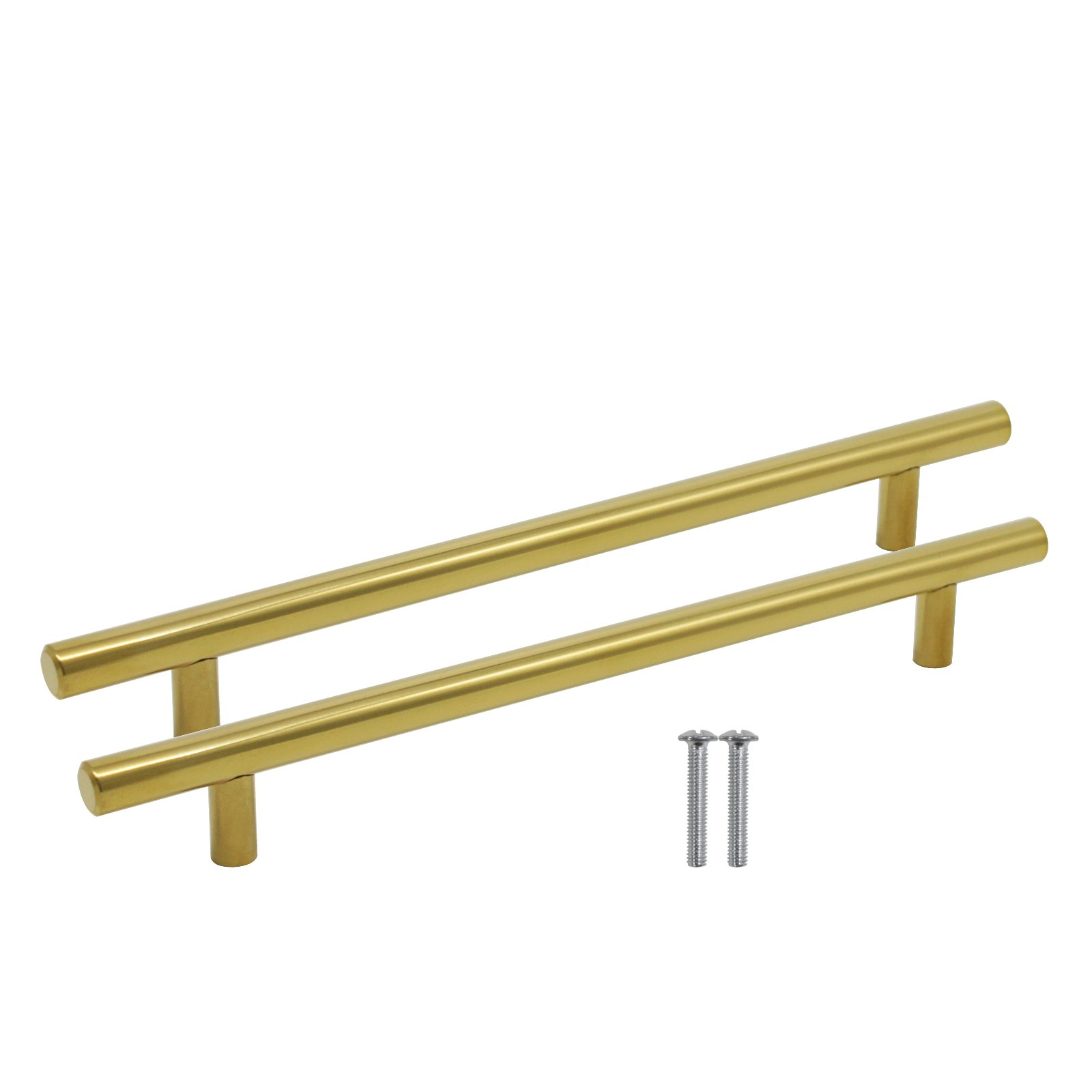 Goldentimehardware Brushed Brass 192mm(7-9/16'') Hole Distance Gold Color Stainless Steel kitchen Door Cabinet Handles T-bar Drawer Cupboard Pull Knob 100 Pack