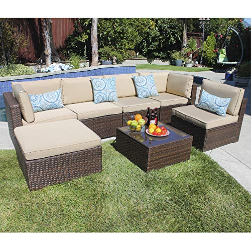 JOIVI 7 Piece Patio Furniture Set, Outdoor Furniture Set, PE Rattan Wicker sectional with Beige Cushions,Brown