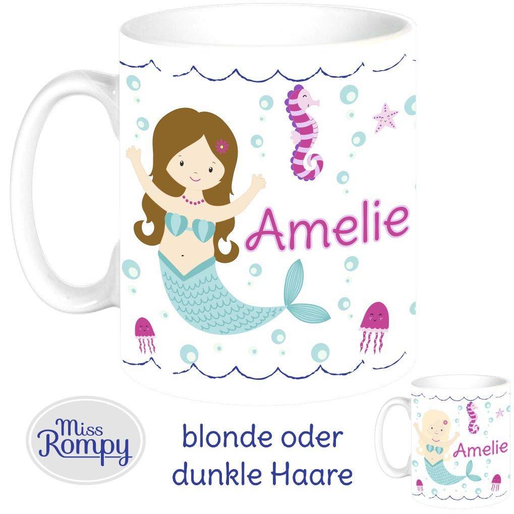 MissRompy Meerjungfrau KinderTasse mit Name Tasse Namentasse Becher Kinderbecher 796
