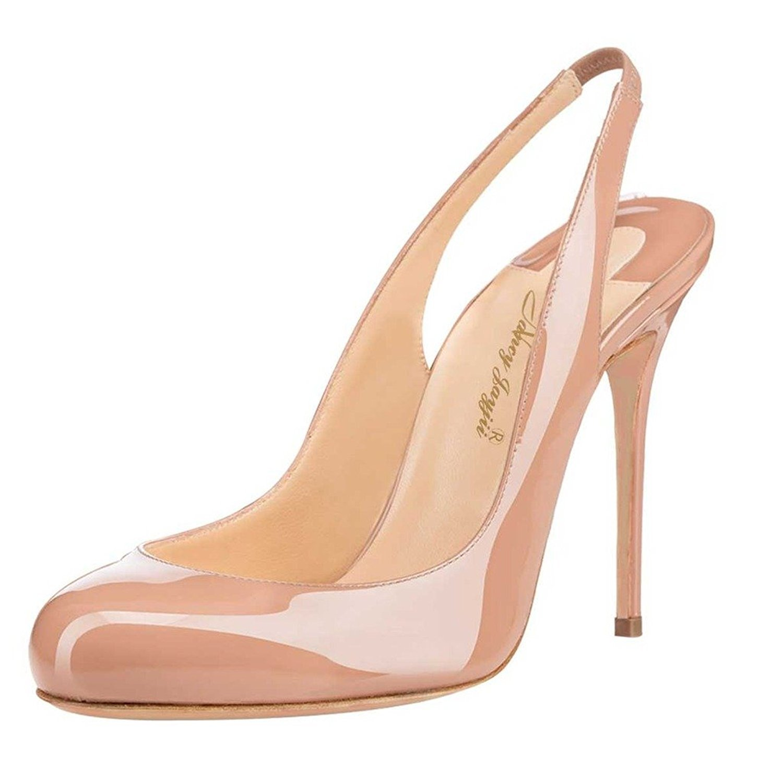 0b61431572c Nancy Jayjii NJPU Women Chic Slingback High Heels Round Toe Pumps Stilettos  Slip On Shoes