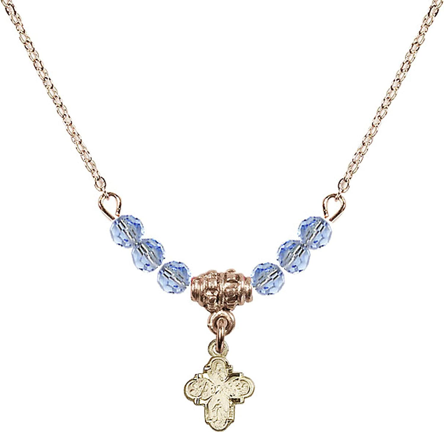 Bonyak Jewelry 18 Inch Hamilton Gold Plated Necklace w// 4mm Light Blue September Birth Month Stone Beads and 4-Way Charm