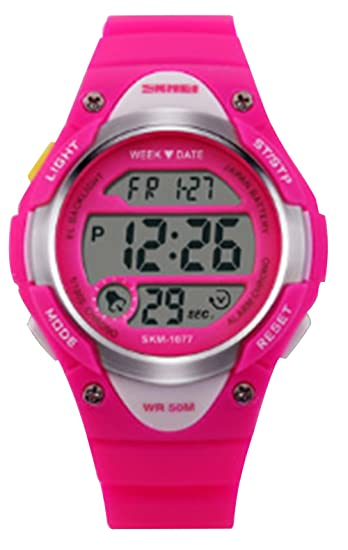 linda rosa reloj digital de color rosa hermosas de deportes para niñas relojes correa de caucho de silicona delicados: Amazon.es: Relojes