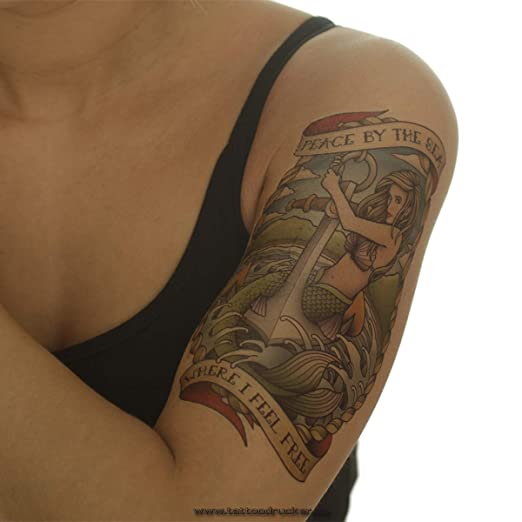 Anker Sirena – Body de Tattoo Negras – Una Vez Piel Tattoo – ax179 ...