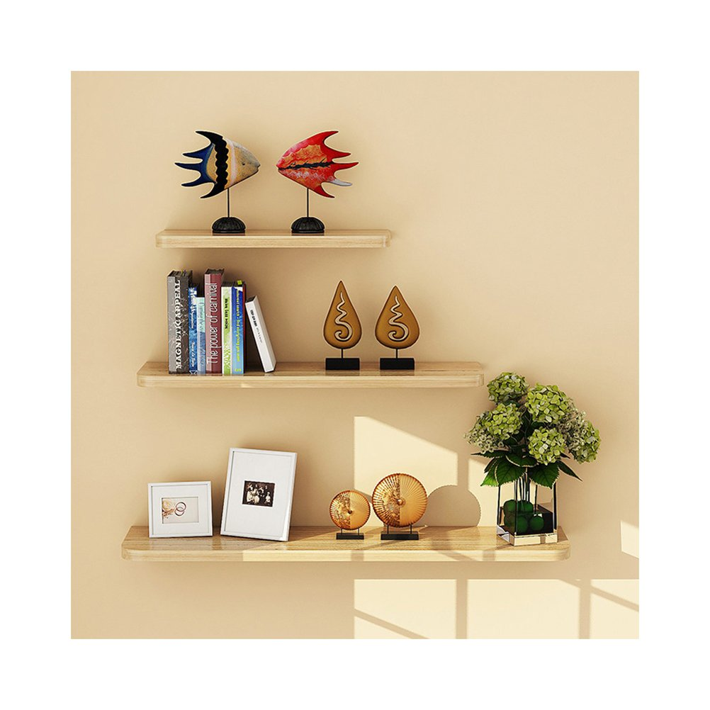 WUDENHOM Floating Shelves Wood Set of 3, Decorative Wall Mounted Hanging Shelf Storage for Home and Office(Light Walnut Color,12,16,20inch)