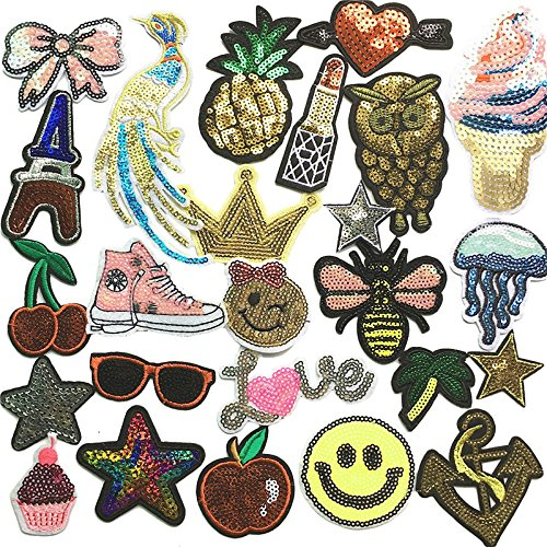 (Libiline Embroidered Sequins Patch Sew On/Iron On Patch Applique Clothes Dress Plant Hat Jeans Sewing Flowers Applique DIY Accessory Owl Peacock Star Fruit Sweet Love Bee (Sequin Patch))
