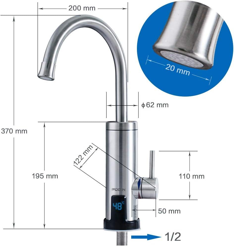 Pudin,R/échauffeur /électrique instantan/é 220V neuf robinet deau chaude en acier inoxydable avec affichage num/érique /à LED pour alimentation en eau chaude et froide