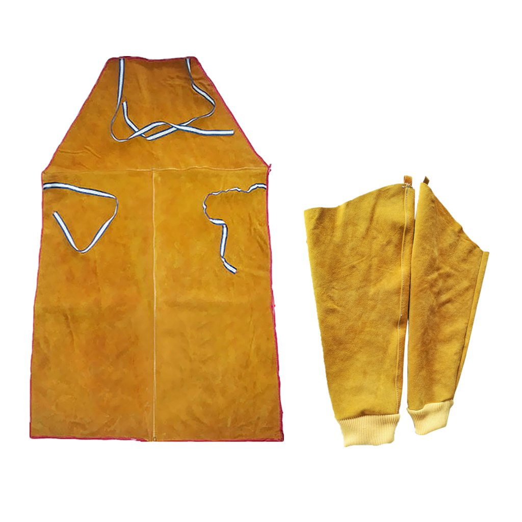 Dovewill Yellow Welder Apron Welding Protection Flame Resistant Bib + Sleeves Cuffs