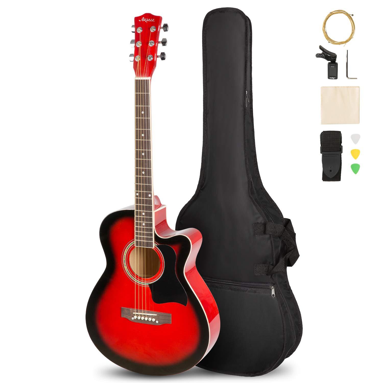 ARTALL 39 Inch Handmade Solid Wood Acoustic Cutaway Guitar Beginner Kit, Glossy Blue