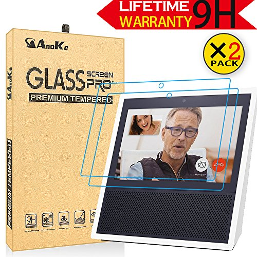 Amazon Echo Show Screen Protector, AnoKe[2 Pack] Ultra-Thin Film[0.3mm, 2.5D] [ANTI-SCRATCH]Bubble-Free Excellent Tempered Glass Screen Protector For Amazon Alexa Echo Show - 2Pack