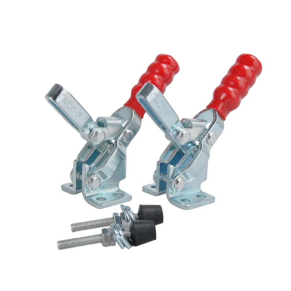 E-TING 2PCS Vertical Hand Tool Quick-Release Toggle Clamp 200 lbs / 91kg Holding Capacity Antislip Clamp 12050-U Hand Tool