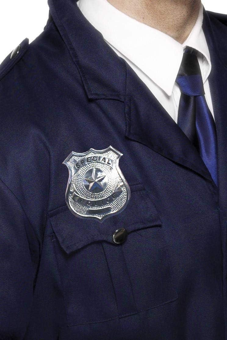 Smiffy's-22480 Placa de policía de metal, plateada, color plata, No es applicable (22480) , color/modelo surtido