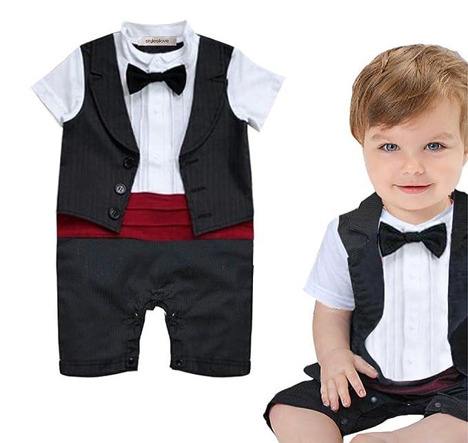 76e5842b8574 Amazon.com  stylesilove Baby Boy Tuxedo Special Occasion Romper ...