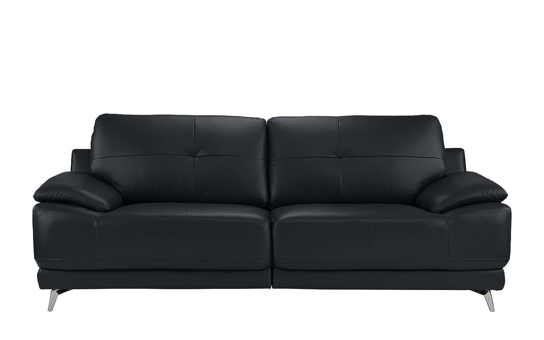 DIVANO ROMA FURNITURE - Modern Living Room Leather Sofa (Dark Blue)