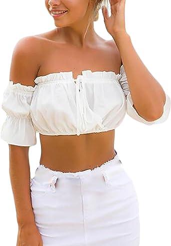 Blusas Mujer Verano Elegantes Manga Corta Cuello Barco Hombro Descubierto Espalda Descubierta Volantes Vintage Hippie Fashion Vestir Verano Camiseta Camisas Crop Tops Shirts: Amazon.es: Ropa y accesorios