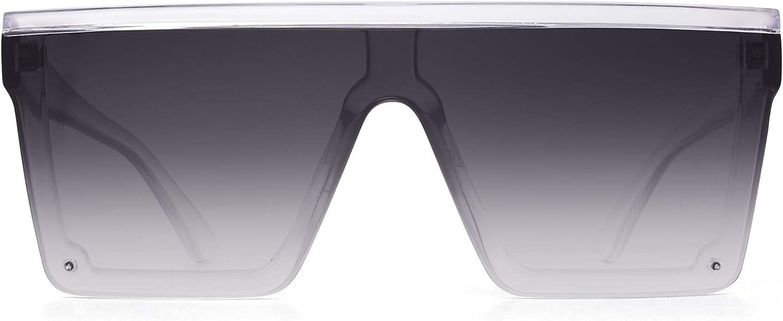 JIM HALO Gafas de Sol con Protección Superior Plana Gafas Cuadradas sin Montura Para Mujeres Hombres