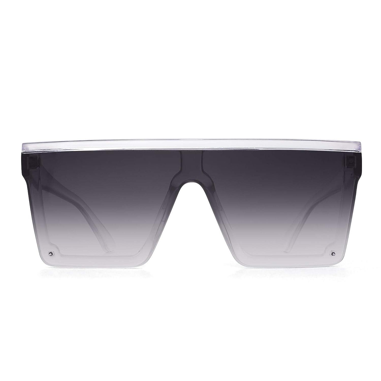 JIM HALO Occhiali da Sole Flat Top Scudo Senza Montatura Quadrata Specchio per Donna Uomo
