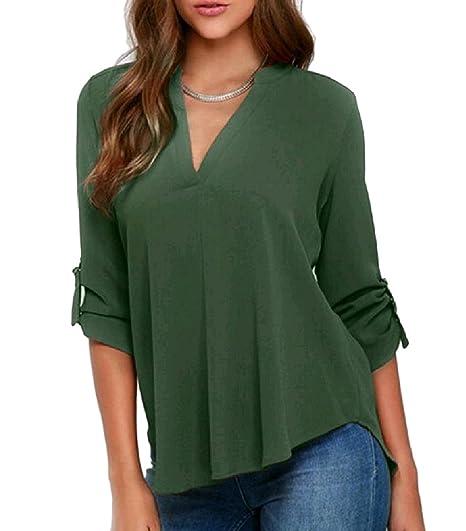 55a01437d58 FreelyWomen V Neck Chiffon Leisure Long Sleeve Plus Size Top Tee Shirt Army  Green XS