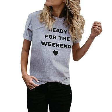 ZIYOU T-Shirt Kurzarm Damen, Sommer Basic Tops Ready For The Weekend Frauen 7ee230d796