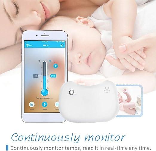 Termómetro de bebé inalámbrico con Bluetooth para el hogar con alertas, monitor de fiebre, termómetro para bebé Tamaño libre blanco: Amazon.es: Hogar