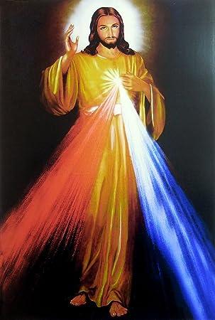 amazon dollsofindia divine mercy イエスキリスト 19 x 13 cm 額