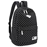 ELASZ Lightweight Casual Daypack Canvas Polka Dot Backpack 14″-15″ Laptop PC School Bag for Teenage Girls(autumn Big Sales promotion) (Black)