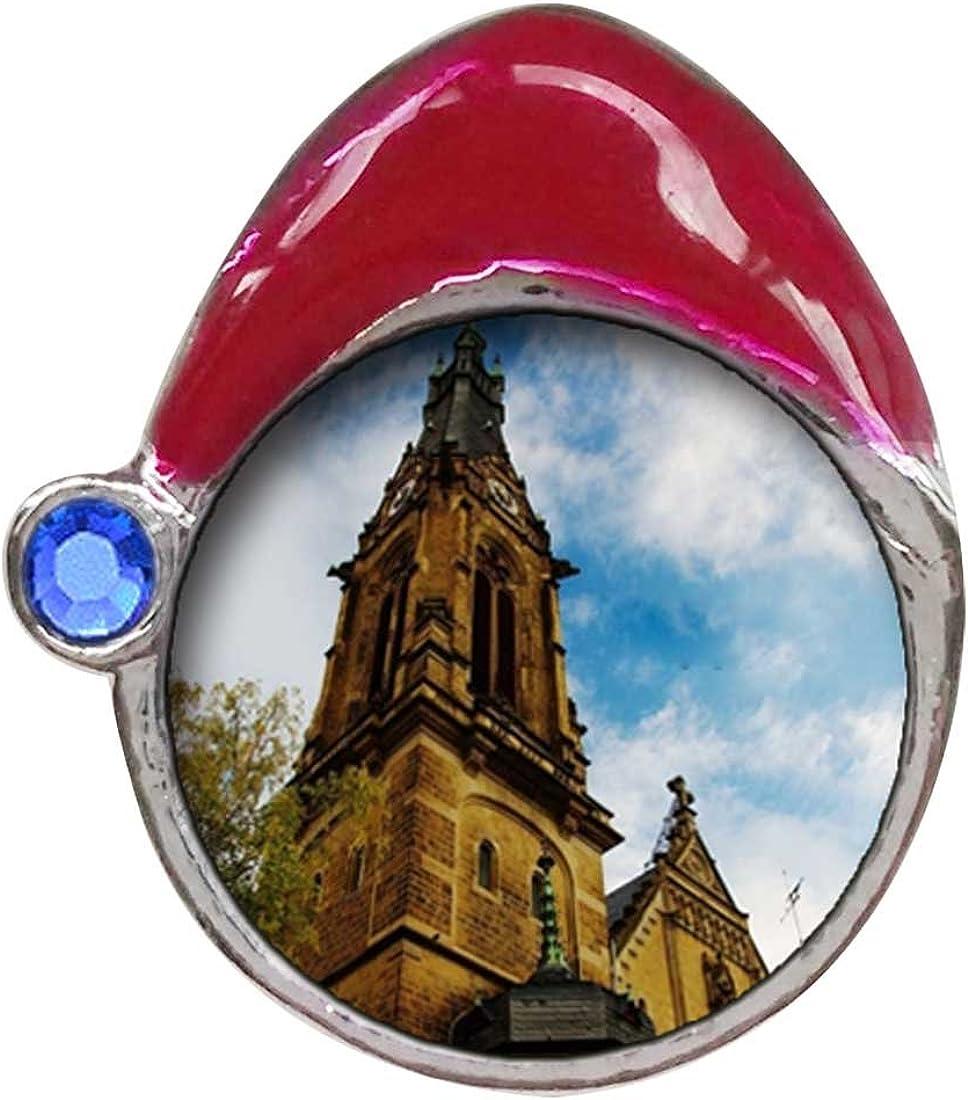 GiftJewelryShop Travel Holy Ghost Church in Heidelberg Sapphire Crystal September Birthstone Santa Hat Charm