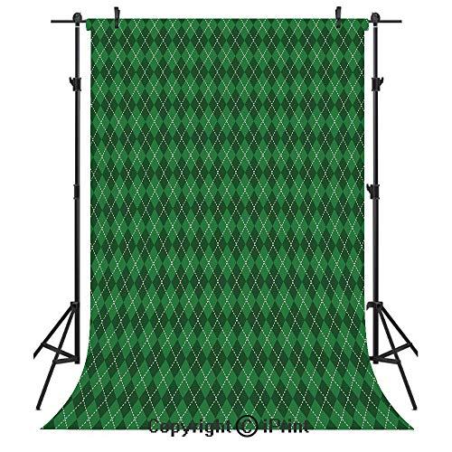 Irish Photography Backdrops,St. Patricks Day Celebration Inspired Vintage Pattern Argyle Tartan Dots Decorative,Birthday Party Seamless Photo Studio Booth Background Banner 6x9ft,Green Dark Green Whit