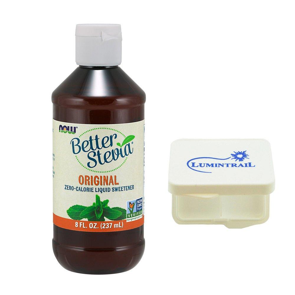 NOW Foods Better Stevia Original 8 fl oz Zero Calorie Liquid Sweetener Bundle with a Lumintrail Pill Case