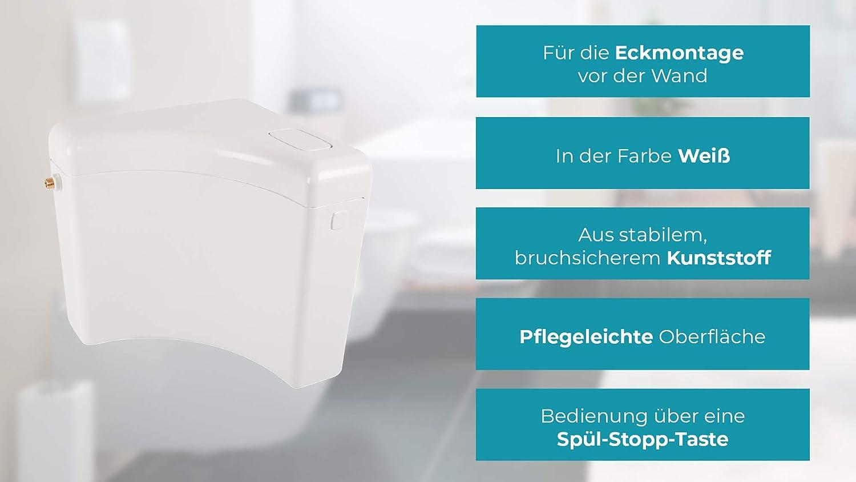 29HB2715 Tiboulen Calmwaters Schmaler Aufputz-Sp/ülkasten mit 6-9 l Sp/ülmengen /& Start-Stopp-Taste f/ür Toiletten