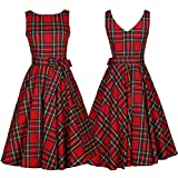 Elogoog Women's Vintage Plaid Print Sleeveless Retro Swing Party Cocktail Dress with Bowknot (Red, L)