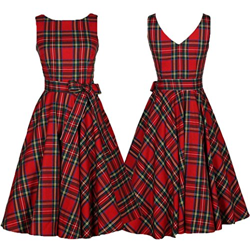 Elogoog Women's Vintage Plaid Print Sleeveless Retro Swing Party Cocktail Dress with Bowknot (Red, L) by Elogoog