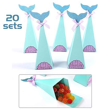 Finelnno 20 PCS Sirena Regalo Cajas,Mermaid Candy Box ...