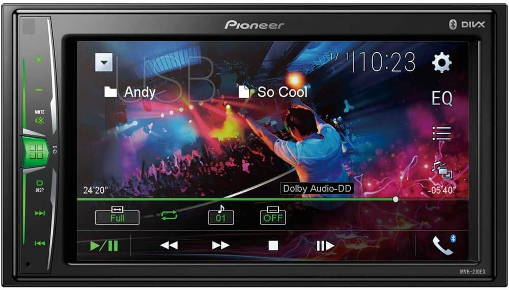 Pioneer MVH210EX 6.2 Double DIN in-Dash Multimedia A V Receiver with Bluetooth