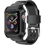 PINHEN Compatible for Apple Watch Protective Case with Strap Band S4 44MM - Rugged Cover Shock Resistant Bumper Case…