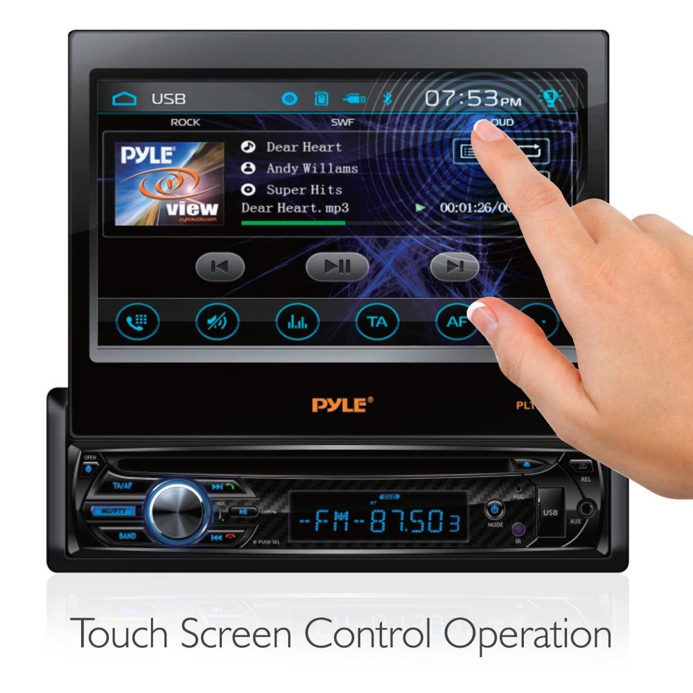 """Single DIN Head Unit Receiver - in-Dash Car Stereo with 7"""" Multi-Color Touchscreen Display - Audio Video System with Bluetooth for Wireless Music Streaming & Hands-Free Calling - Pyle PLTS78DUB by Pyle (Image #2)"""