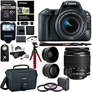 Canon EOS Rebel SL2 DSLR Camera with EF-S 18-55mm STM Lens, Polaroid 32GB Memory Card, Telephoto, Wide Angle Lenses, Filter Kit and Accessory Bundle