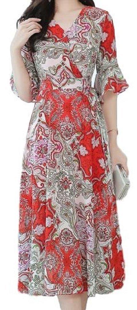 [Nana_Collection(ナナコレクション)] 春 夏 シフォン ワンピース Vネック ロング丈 花柄 女性 フリル袖 B07CNMGFB6 M|レッド レッド M