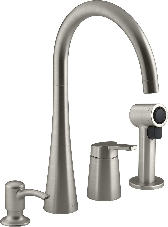 Kohler Koi Vibrant Stainless 1 Handle High Arc Kitchen Faucet With Side Spray R23009 Sd Vs Amazon Com