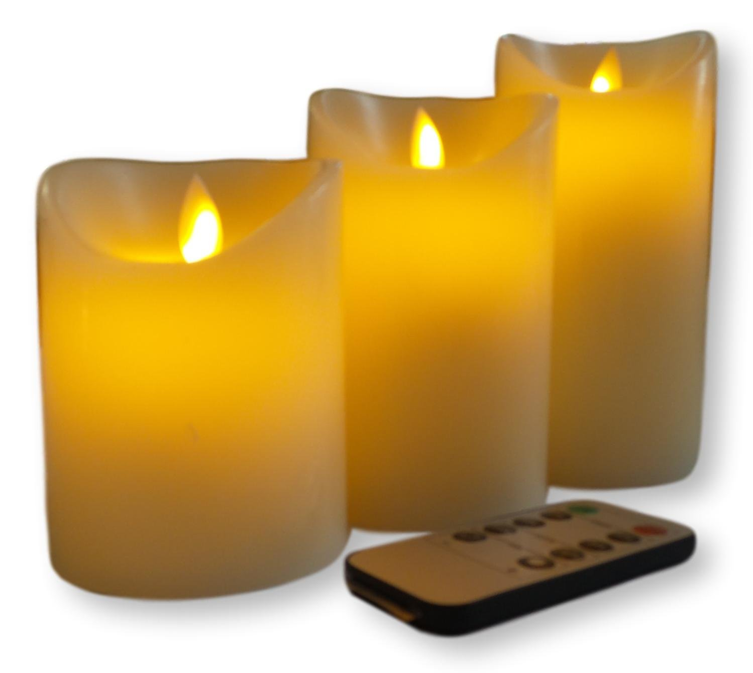 One World Magic Candle Set - 4'',5'',6'' Flameless, Real Wax Ivory Pillar Vanilla Scent with Remote (3 pc - 3 in. Diameter)