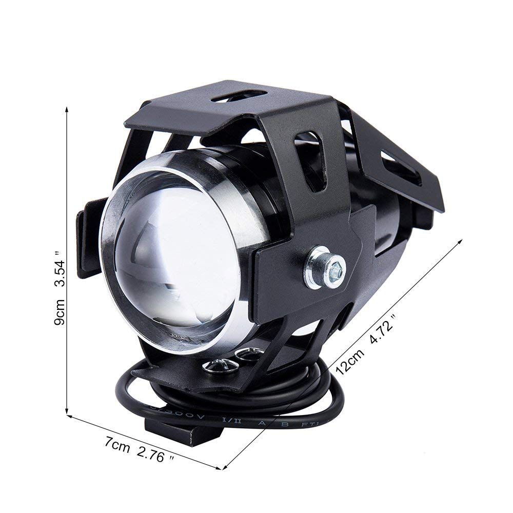 HANEU 2PCS Motorcycle Headlight Motorbike U5 LED Fog Lamp Front Spot Light DRL Spotlight Driving Daytime Lights with universal 3 buttons