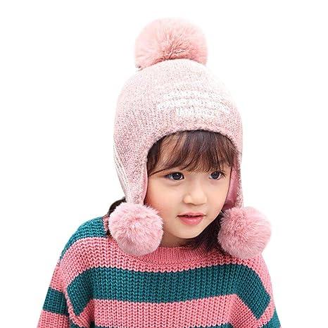 Fineser Baby Hat Scarf Girls Sherpa Earflaps Hat Kids Winter Letter