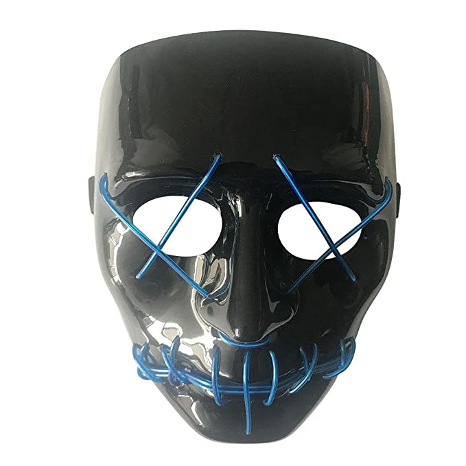 Amazon.com: Halloween Frightening Mask Cosplay LED Light Glow Scary EL Wire Light Up Grin Luminous Masks for Festival Parties Costume Dance: Home ...