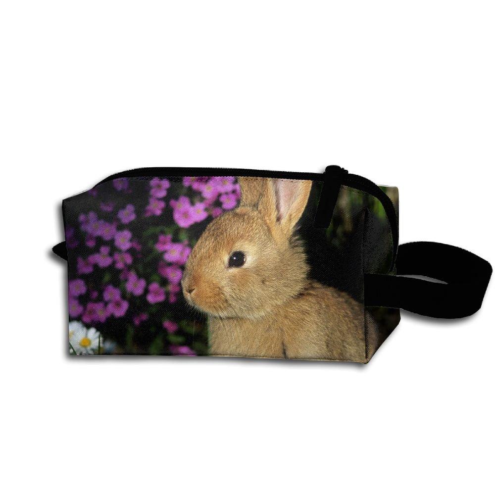 メイクアップコスメティックバッグCute Rabbit BunnyアートMedicine Bag Zip旅行ポータブルストレージポーチforメンズレディース B07DWMR3WQ