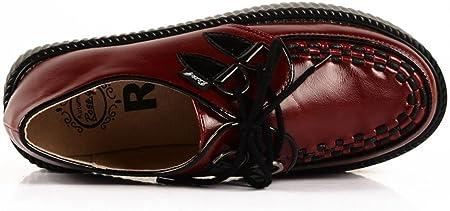 RoseG Zapatos Mujer Cordones Plataforma Creepers Rojo