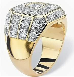 خاتم ذهبي رجالي مرصع بحجر الزركون حجم US 7