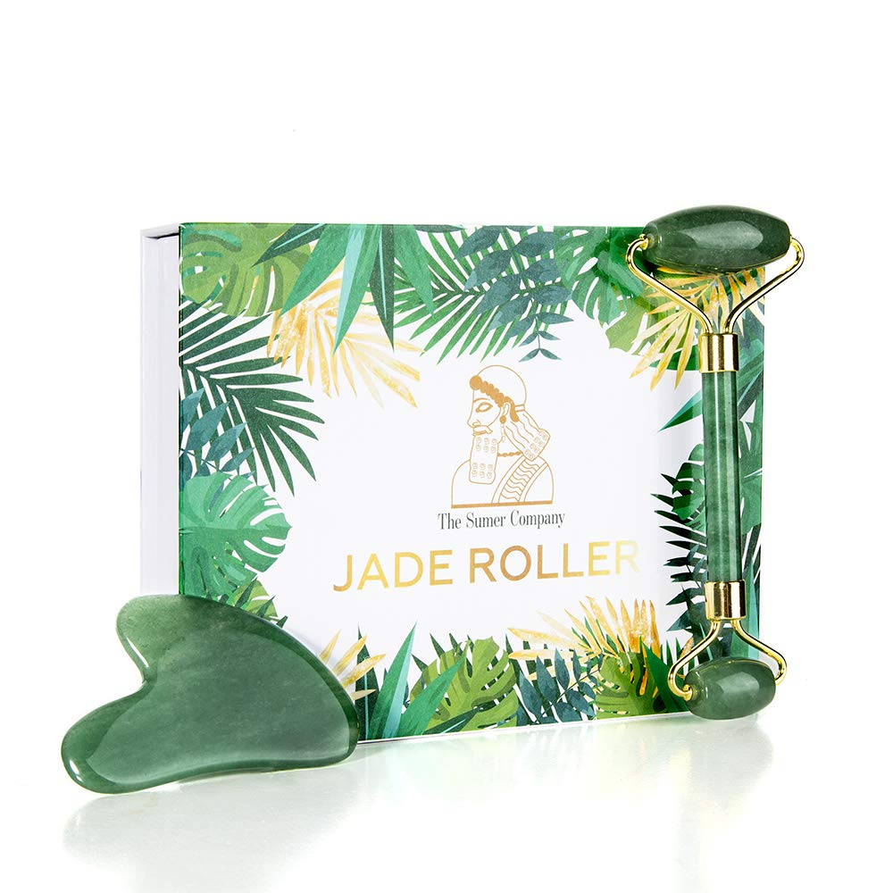 Jade Roller and Gua Sha Set by The Sumer Company - Natural Real Jade-Facial Massager Tool - Aids in Blood Circulation, Anti-Aging Therapy, Firmness, Reduce Puffiness, Wrinkles and Acne Scarring