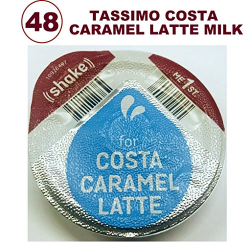 48x TASSIMO COSTA CARAMEL LATTE MILK CREAMER ONLY PODS (NO COFFEE CAPSULES) LOOSE