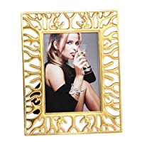SXELODIE Photo Frame Golden Hollow Deer-Picture Frames With Mount-Glass Front,7Inch
