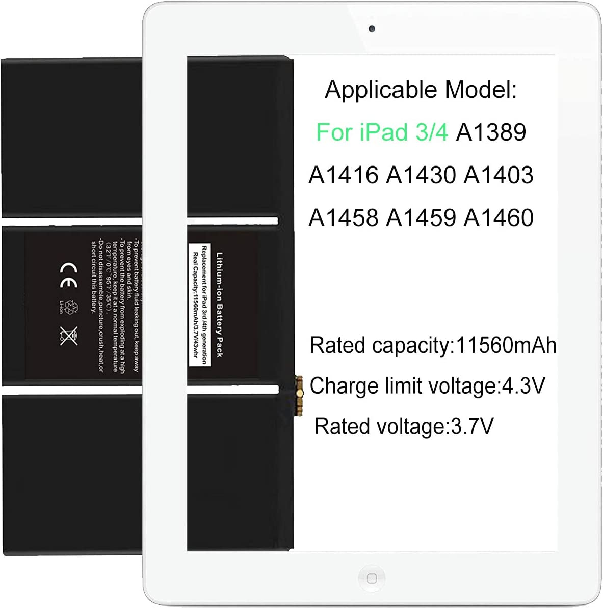 Battery Fits For iPad 3 AND 4 A1389 616-0591 616-0592 A1460 A1459 A1458 11500mAh